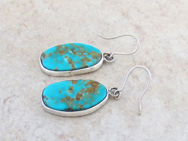 Image 1 of     Turquoise & Sterling Silver Earrings Navajo Made - 1107rio