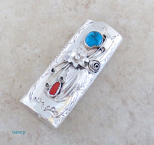 Turquoise & Coral Sterling Silver Lighter Case Navajo 1106rio