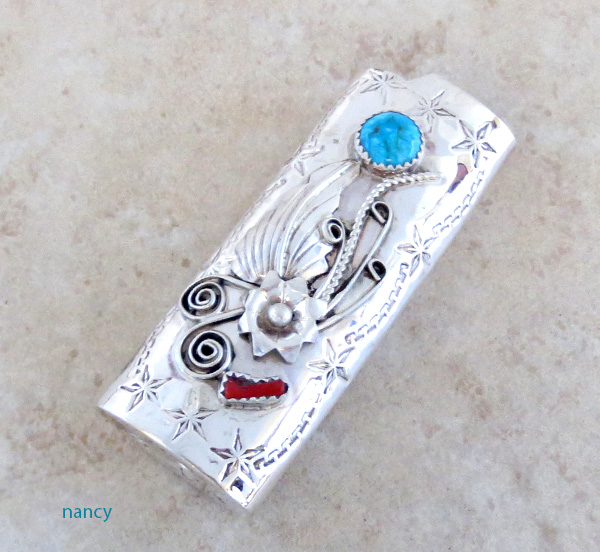 Turquoise & Coral Sterling Silver Lighter Case Navajo - 1029rio
