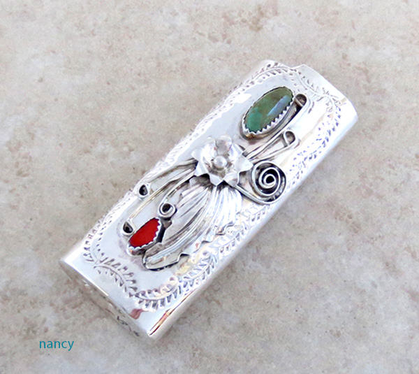 Turquoise & Coral Sterling Silver Lighter Case Navajo - 1231rio