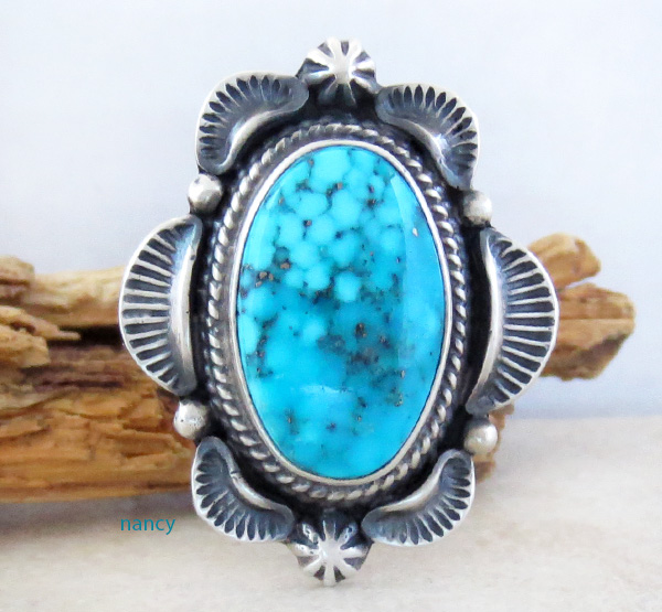 Large Old Style Turquoise & Sterling Silver Ring Size 10 Navajo Made - 0823rio