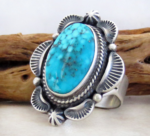 Image 2 of   Large Old Style Turquoise & Sterling Silver Ring Size 10 Navajo Made - 0823rio