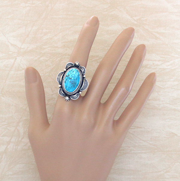 Image 4 of   Large Old Style Turquoise & Sterling Silver Ring Size 10 Navajo Made - 0823rio