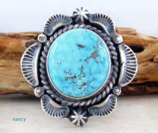 Old Style Turquoise & Sterling Silver Ring Size 7 Navajo Made - 3341pl