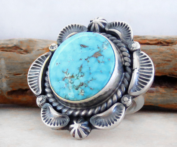 Image 2 of       Old Style Turquoise & Sterling Silver Ring Size 7 Navajo Made - 3341pl
