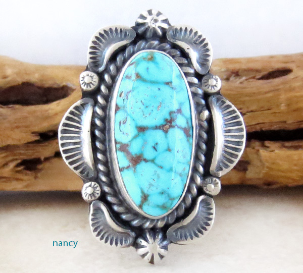 Large Old Style Turquoise & Sterling Silver Ring Size 10.5 Navajo - 1437pl