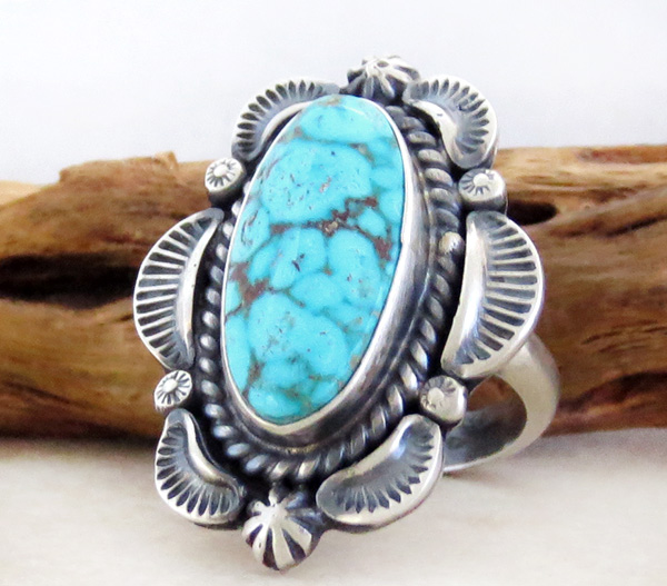 Image 2 of   Large Old Style Turquoise & Sterling Silver Ring Size 10.5 Navajo - 1437pl
