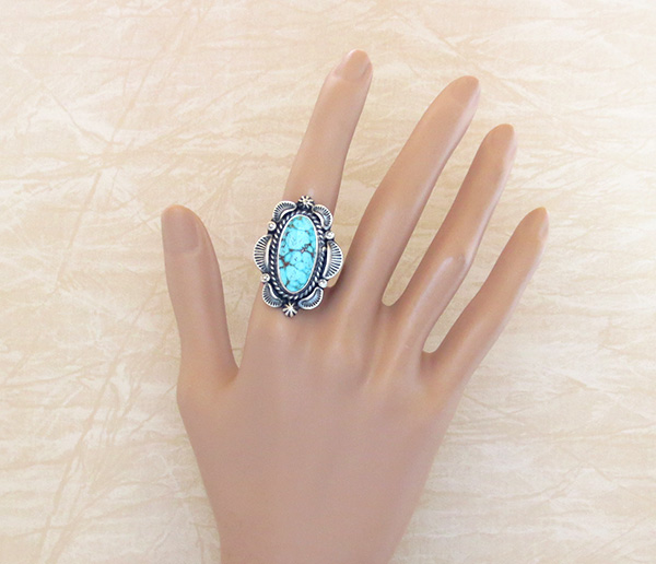 Image 4 of   Large Old Style Turquoise & Sterling Silver Ring Size 10.5 Navajo - 1437pl