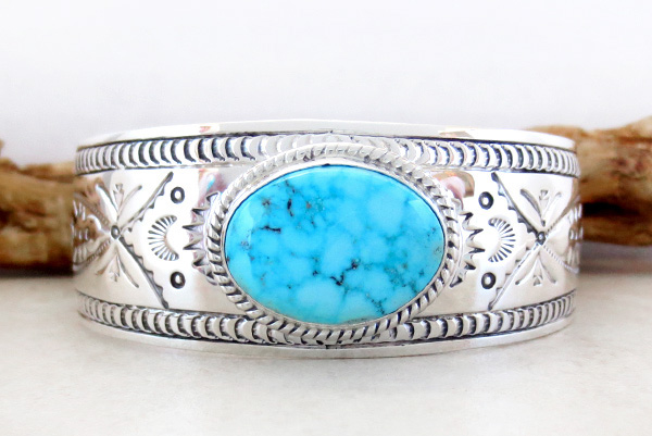 Kingman Turquoise & Sterling Silver  Bracelet Joe Piaso Jr Navajo - 1435sn