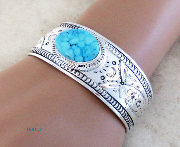 Image 1 of    Turquoise & Sterling Silver Bracelet Native American Jewelry - 1435sn
