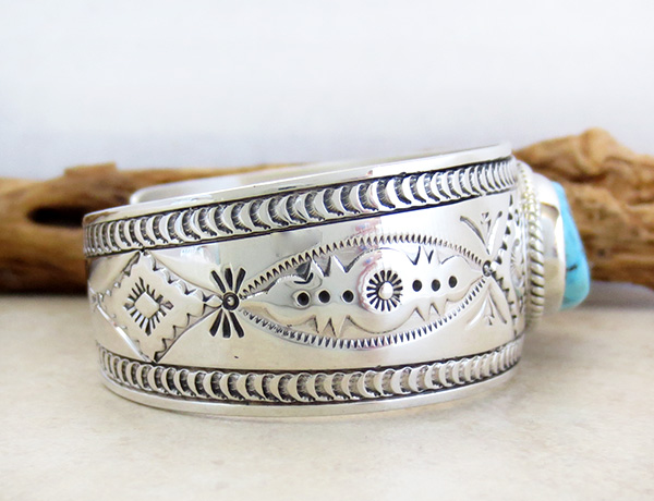Image 2 of    Kingman Turquoise & Sterling Silver  Bracelet Joe Piaso Jr Navajo - 1435sn
