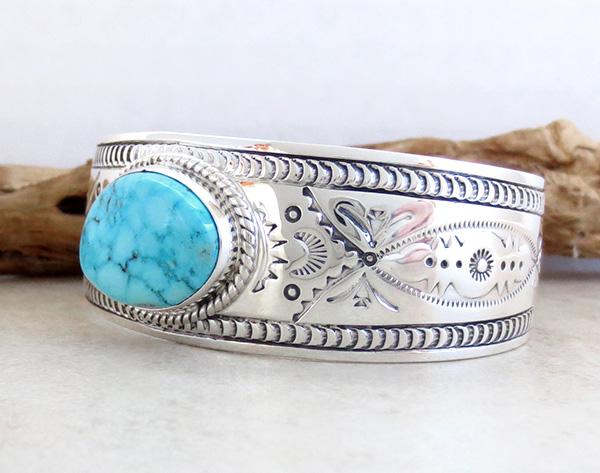 Image 3 of    Kingman Turquoise & Sterling Silver  Bracelet Joe Piaso Jr Navajo - 1435sn