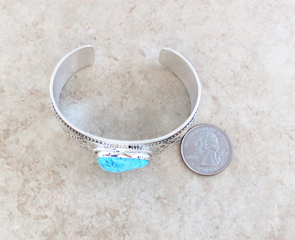 Image 5 of    Kingman Turquoise & Sterling Silver  Bracelet Joe Piaso Jr Navajo - 1435sn