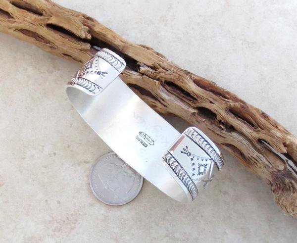 Image 6 of      Kingman Turquoise & Sterling Silver  Bracelet Joe Piaso Jr Navajo - 1435sn