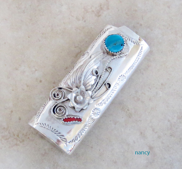 Turquoise & Coral Sterling Silver Lighter Case Navajo - 1452rio