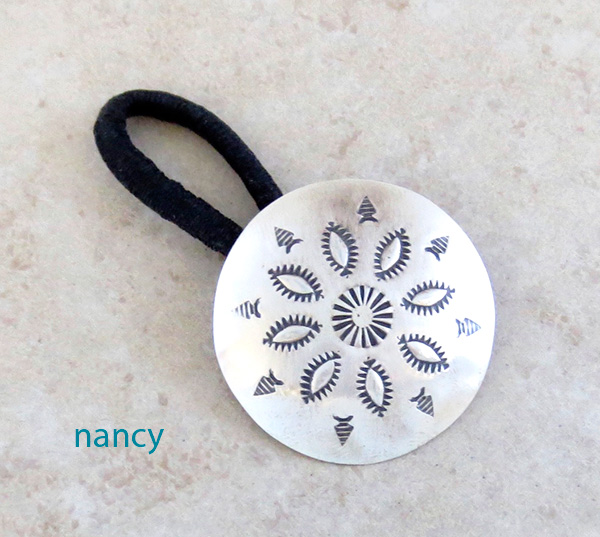 Image 0 of Handcrafted Stamped Sterling Silver Pony Tail Holder Navajo Made - 0824rb