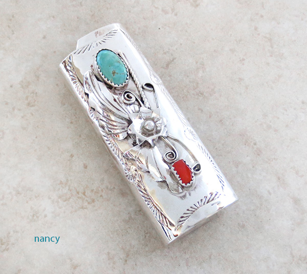 Turquoise & Coral Sterling Silver Lighter Case Navajo - 3894rio