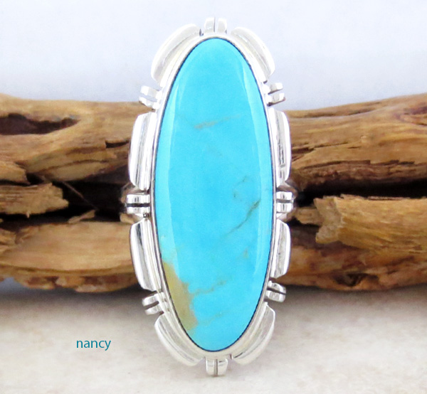 Sterling Silver & Turquoise Ring Size 7 Navajo Made - 3342rio