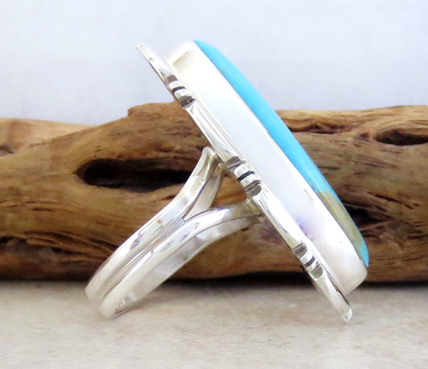 Image 1 of     Sterling Silver & Turquoise Ring Size 7 Navajo Made - 3342rio