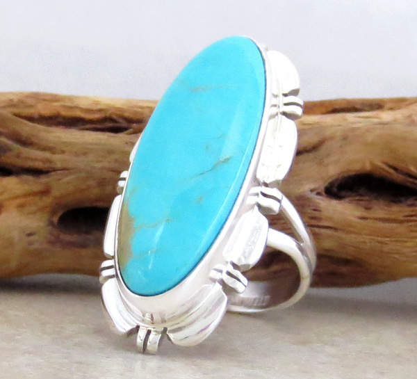 Image 2 of     Sterling Silver & Turquoise Ring Size 7 Navajo Made - 3342rio