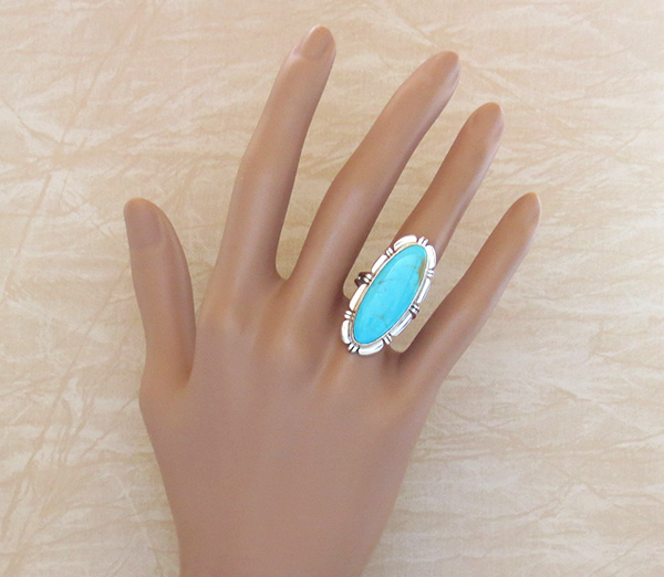 Image 4 of     Sterling Silver & Turquoise Ring Size 7 Navajo Made - 3342rio