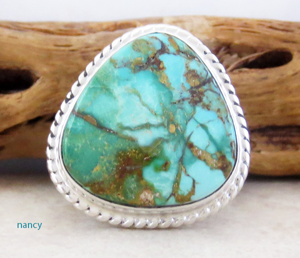 Image 0 of      Large Turquoise & Sterling Silver Ring Size 10 Phillip Sanchez - 1335sn