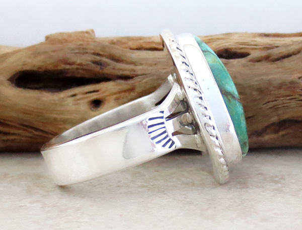 Image 1 of      Large Turquoise & Sterling Silver Ring Size 10 Phillip Sanchez - 1335sn
