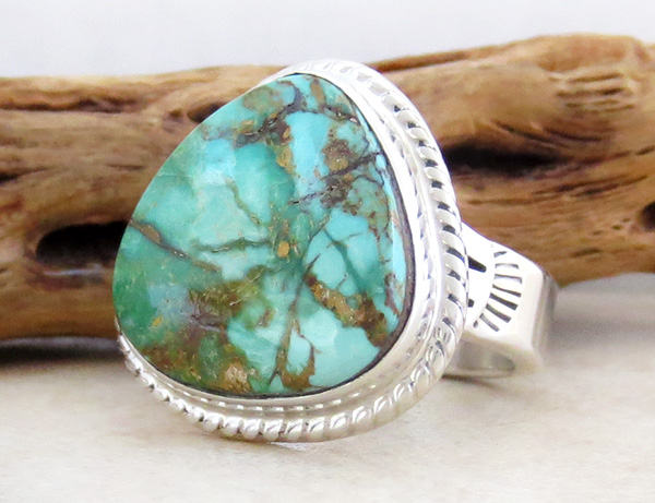 Image 2 of          Large Turquoise & Sterling Silver Ring Size 10 Phillip Sanchez - 1335sn