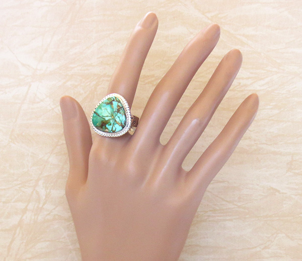 Image 4 of    Large Turquoise & Sterling Silver Ring Size 10 Phillip Sanchez - 1335sn