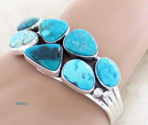 Image 0 of   Large Multi Stone Nevada Turquoise Bracelet Navajo Made - 1235sn
