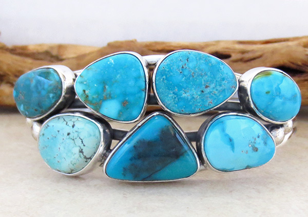 Image 1 of   Large Multi Stone Nevada Turquoise Bracelet Navajo Made - 1235sn