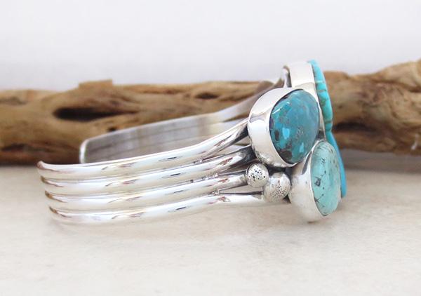 Image 2 of   Large Multi Stone Nevada Turquoise Bracelet Navajo Made - 1235sn