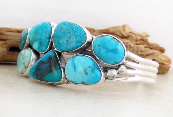 Image 3 of   Large Multi Stone Nevada Turquoise Bracelet Navajo Made - 1235sn