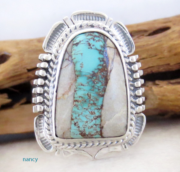 Boulder Turquoise Ribbon & Sterling Silver Ring Size 8.75 - 1712sn