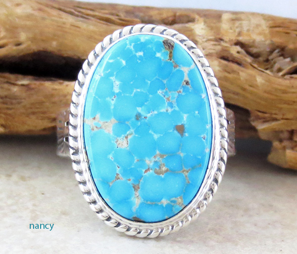 Turquoise & Sterling Silver Ring Size 10 Phillip Sanchez - 1419sn