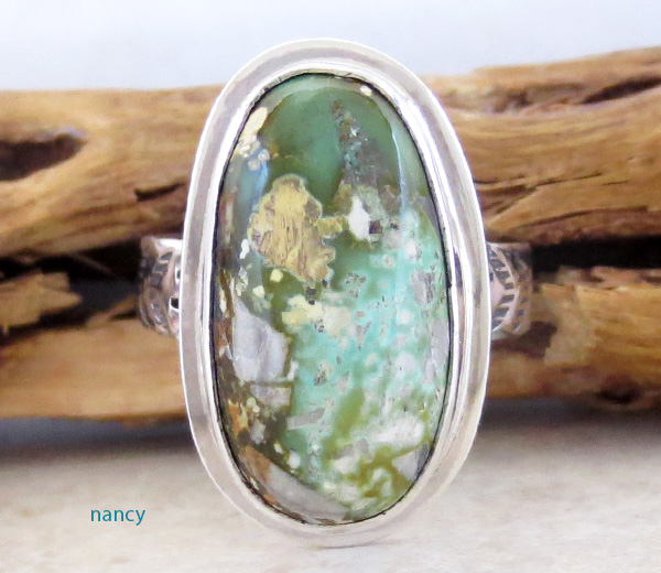 Green Boulder Turquoise & Sterling Silver Ring Size 9 Navajo - 1241sn