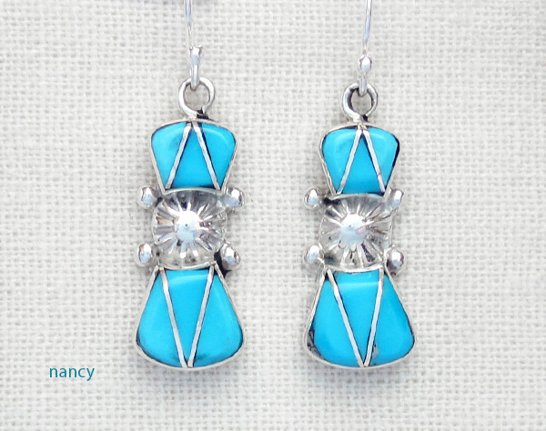 Turquoise Inlay Amp Sterling Silver Earrings Native American