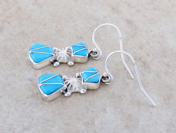 Image 1 of  Turquoise Inlay & Sterling Silver Earrings Native American Jewelry - 1036sn