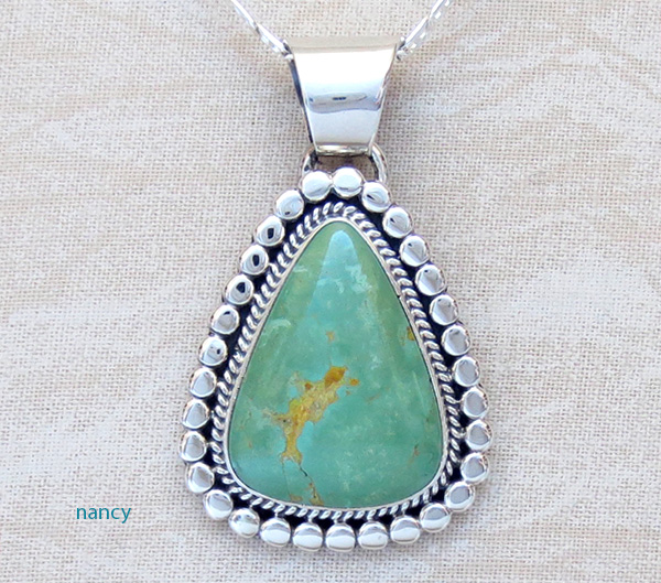 Green Manassa Turquoise & Sterling Silver Pendant Navajo Made - 1549sn