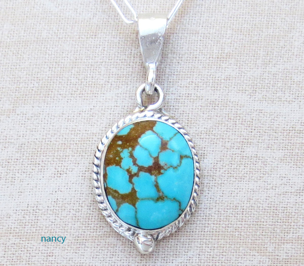 Small Number 8 Mine Turquoise & Sterling Silver Pendant - 1546sn