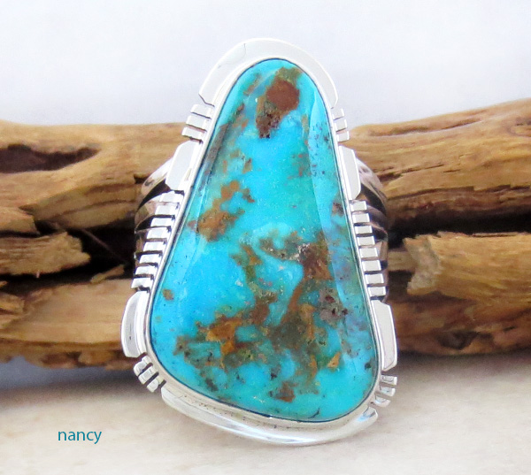 Native American Jewelry Turquoise & Sterling Silver Ring sz 8.5 - 1723sn