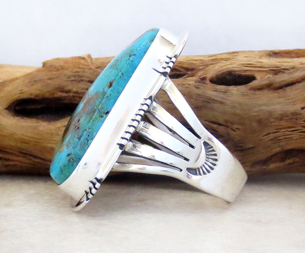 Image 1 of     Native American Jewelry Turquoise & Sterling Silver Ring sz 8.5 - 1723sn