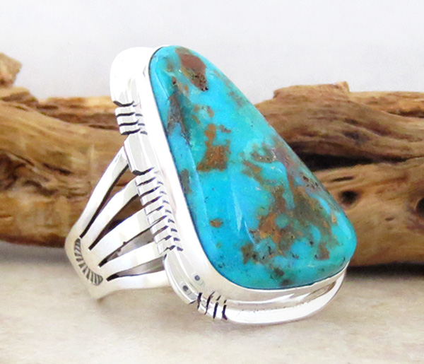 Image 2 of     Native American Jewelry Turquoise & Sterling Silver Ring sz 8.5 - 1723sn