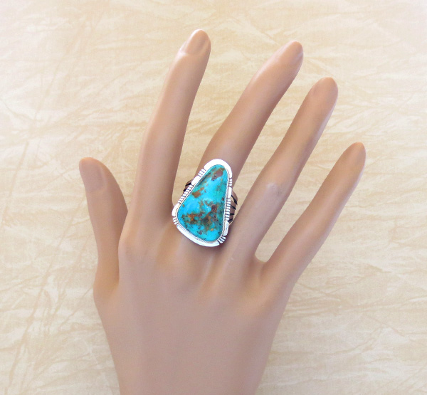 Image 4 of     Native American Jewelry Turquoise & Sterling Silver Ring sz 8.5 - 1723sn