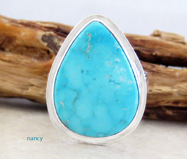 Navajo Made Turquoise & Sterling Silver Ring Size 8 - 3874sn