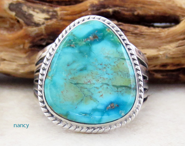 Turquoise & Sterling Silver Ring Size 9 Lyle Piaso - 3578sn