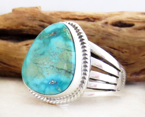 Image 2 of  Turquoise & Sterling Silver Ring Size 9 Lyle Piaso - 3578sn