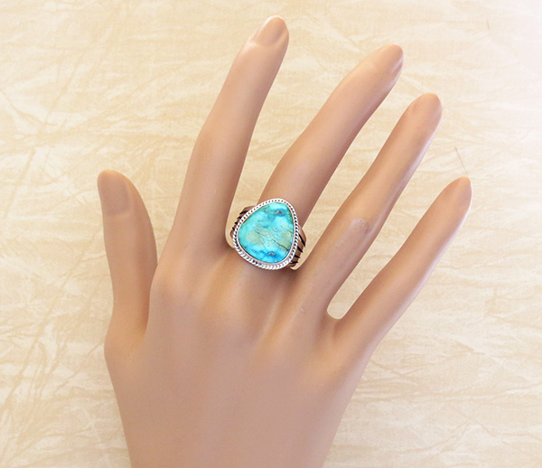 Image 4 of  Turquoise & Sterling Silver Ring Size 9 Lyle Piaso - 3578sn