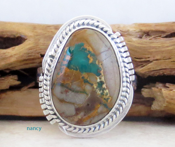 Image 0 of     Boulder Turquoise & Sterling Silver Ring Size 7 Navajo Made - 1253sn