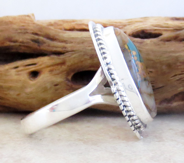 Image 1 of     Boulder Turquoise & Sterling Silver Ring Size 7 Navajo Made - 1253sn